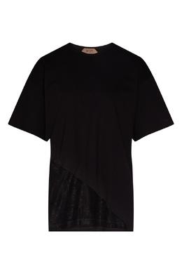 Черная футболка с кружевной вставкой No. 21 35155248