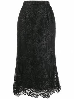 Wandering юбка миди с вышивкой WGW19334BLACK