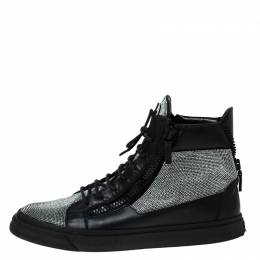 Giuseppe Zanotti Design Black Leather and Crystal Embellished High Top Sneakers Size 45