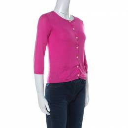 Carolina Herrera Pink Knit Classic Button Front Cardigan XS Ch Carolina Herrera