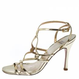 Stuart Weitzman Gold Patent Leather Strappy Sandals Size 38 230399