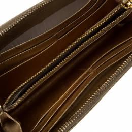 Prada Gold Saffiano Metal Leather Zip Around Wallet 229520