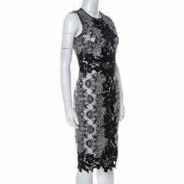 Marchesa Notte Monochrome Floral Lace Sleeveless Pencil Dress S 230464