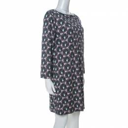 Prada Multicolor Floral Paisely Printed Silk Jersey Long Sleeve Shift Dress L 230468