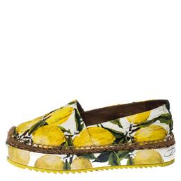Dolce&Gabbana Yellow/Green Lemon Print Fabric Platform Espadrille Flats Size 38 230040