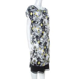 GF Ferre Multicolor circle Print Silk Lace Detail Asymmetric Shoulder Dress L Gianfranco Ferre 229818