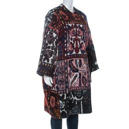 Chloe Multicolor Woven Tapestry Jacquard Waist Tie Detail Mid Length Coat S