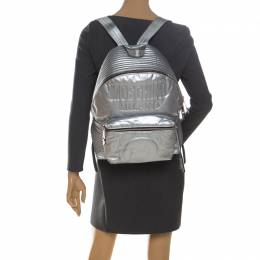 Moschino Silver Teddy Embossed Large Leather Backpack 228330