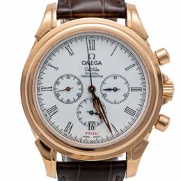 Omega White De Vile Rose Gold Chronograph Automatic Limited Edition Of 333 Men'S Watch 41MM 230239