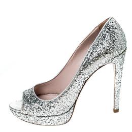Miu Miu Silver Glitter Peep Toe Platform Pumps Size 39 231238