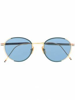 Thom Browne Eyewear солнцезащитные очки в круглой оправе TB106CNVYGLD50