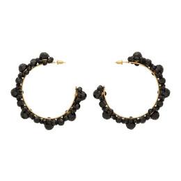 Simone Rocha Black Crystal Large Daisy Hoop Earrings ERG163 0903 CRYSTAL