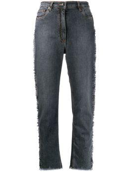 Etro джинсы с узором пейсли на лампасах 180029078
