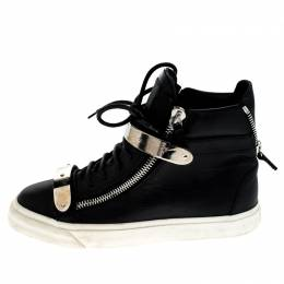 Giuseppe Zanotti Design Black Leather Double Chain High Top Sneakers Size 38