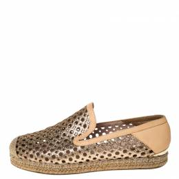 Stuart Weitzman Peach Perforated Glitter Leather Country Espadrille Flats Size 37 230396