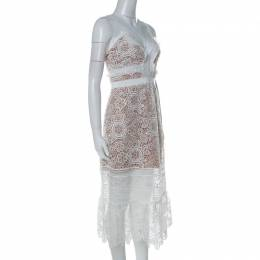Self-Portrait White Guipure Lace Sheer Ruffled Hem Floral Blush Midi Dress M
