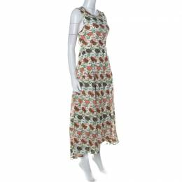 Tory Burch Multicolor Foral Print Silk Open Back Kendall Dress S 229609