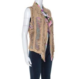 Roberto Cavalli Multicolor Printed Silk and Beige Suede Overlay Sleeveless Vest M 230023
