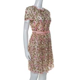 Valentino Pink Floral Embellished Tulle Belted Dress S 231781