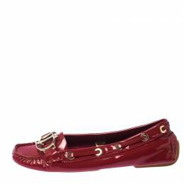 Dior Red Patent Leather CD Logo Slip On Loafers Size 37.5 231769