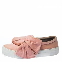 Joshua Sanders Light Pink Canvas Bow Slip On Sneakers Size 40 229795