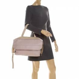 Chloe Pale Pink/Beige Leather Zip Top Handle Bag 228106
