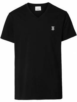 Burberry футболка с V-образным вырезом и монограммой 8017255