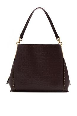 Бордовая сумка Dalton 31 из тисненой кожи Signature с заклепками Coach 2219155977