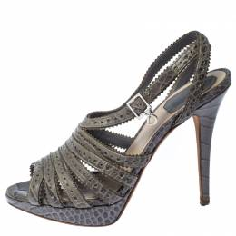 Dior Grey Croc Embossed Leather Bonnie Strappy Peep Toe Platform Sandals Size 38.5