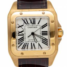 Cartier White Santos 100 18K Yellow Gold & Leather Automatic Men'S Watch 43MM 232082