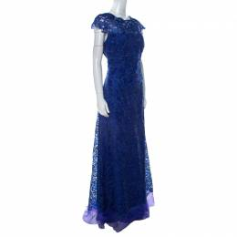 Tadashi Shoji Midnight Blue Lace Cap Sleeve Milien Evening Dress L 229538