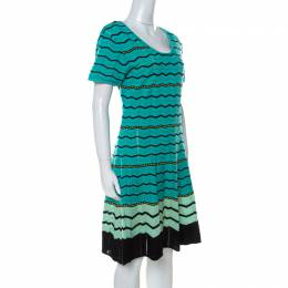 M Missoni Green Chevron Patterned Perforated Knit Short Sleeve Dress L 232019