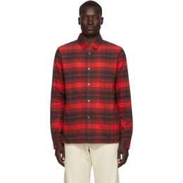 John Elliott Red Plaid Straight Hem Shirt E027I17352A
