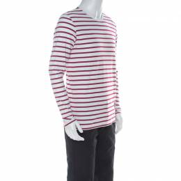 Burberry Red and White Striped Cotton Patch Detail Long Sleeve T Shirt L 224840