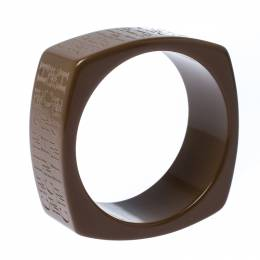 Ch Carolina Herrera Textured Brown Extra Wide Bangle Bracelet