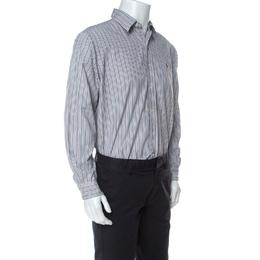 Ralph Lauren Grey Striped Cotton Classic Fit Button Down Shirt L 231927