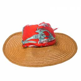 Hermes Orange Hemp And Silk Merveilleuses Lanternes Motif Tie Detail Sun Hat
