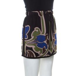 Gucci Multicolor Printed Silk Drawstring Detail Short Skirt S 232078