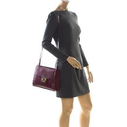 Salvatore Ferragamo Burgundy Leather Gancio Lock Shoulder Bag 229031