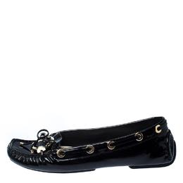 Dior Black Patent Leather Metal Twist Moccasins Size 37 226979