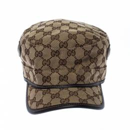 Gucci Brown & Beige Monogram Print Canvas Eyelet Detail Guccisima Military Hat XL
