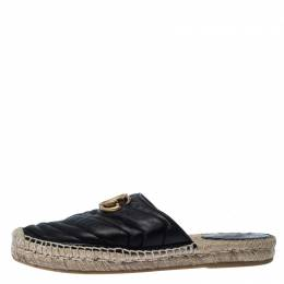 Gucci Black Leather GG Espadrilles Size 37 232266