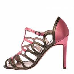 Manolo Blahnik Satin And Leather Cut Out Strappy Sandals Size 36 232742