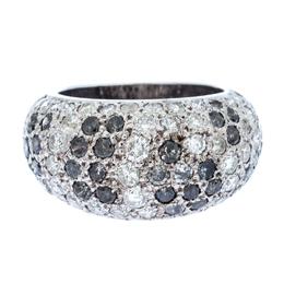 Cartier Black & White Diamonds 18k White Gold Pave Band Ring Size 51 232937