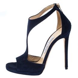 Jimmy Choo Blue Suede Lana T Strap Open Toe Sandals Size 38 232585