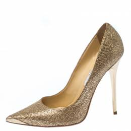 Jimmy Choo Metallic Gold Glitter Fabric Abel Pointed Toe Pumps Size 40