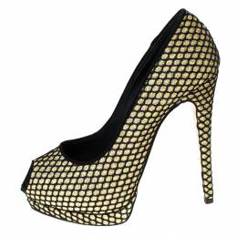 Guiseppe Zannotti Black/Gold Glitter And Fabric Sharon Peep Toe Platform Pumps Size 38.5 Giuseppe Zanotti Design