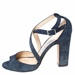 Jimmy Choo Blue Denim Carrie Ankle Strap Sandals Size 37.5