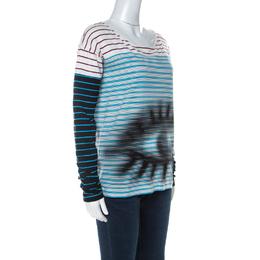 Prada Multicolor Stripes And Eye Print Cotton Long Sleeve T-Shirt XS 232778