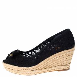 Tory Burch Black Lace Jackie Peep Toe Espadrilles Wedge Pumps Size 38.5